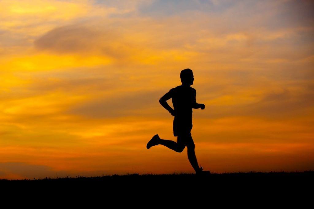 running in the sunset - senior session