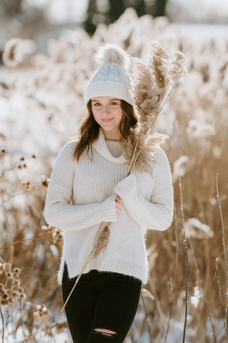 senior girl winter snow