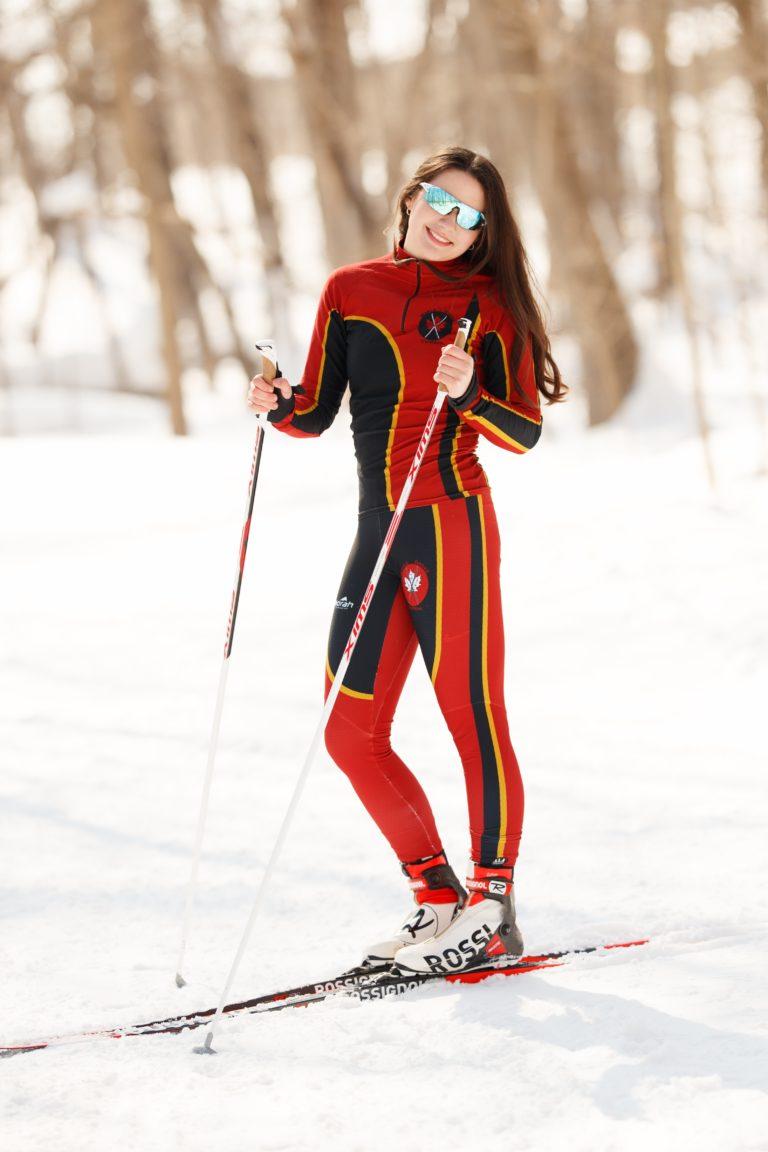 Senior girl photoshoot doing cross country skiing