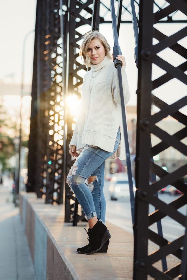 senior girl urban bridge