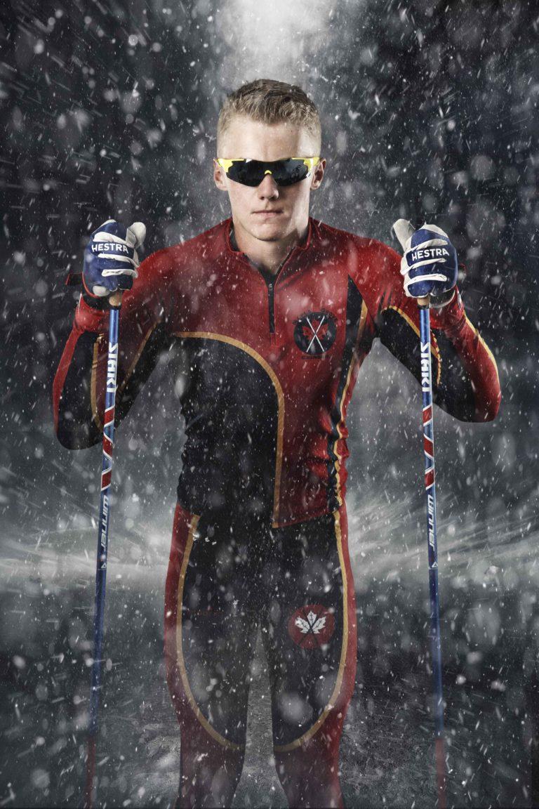 Senior guy wears his cross country ski gear