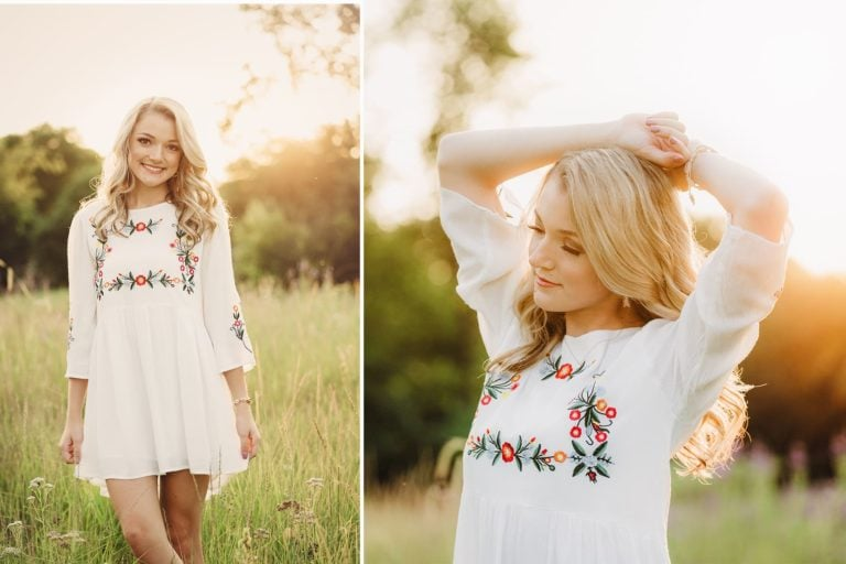 senior girl field sunset white dress